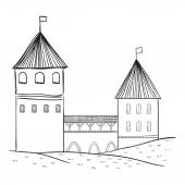 Medieval castle. — Stock Vector