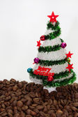 Christmas tree on the coffee beans — Stock Photo