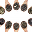 Assortment of dry tea in spoons — Stockfoto #60920957