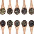 Assortment of dry tea in spoons — Stockfoto #60921187
