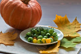 Small tomatos and pumkin with autumn leaves — Стоковое фото