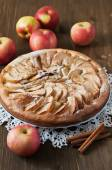 Apple pie with cinnamon on the wooden backgraund — Stock Photo