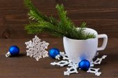 Christmas concept (decoration). Crochet christmas snowflake hanging Christmas tree branch — Stock Photo