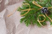 Cristmas cone with yellow ribbon on a fir branch — Stock fotografie
