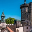 Roofs and towers of Franzensburg castle, Austria — Stock Photo #73954335