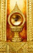 Glass ball on thai moral background. — Foto de Stock
