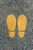 Yellow footprint. — Stock Photo