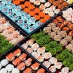 Variety of japaneese sushi rolls — Stock Photo #72567761