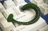Computer worm attacking computer — Stockfoto