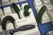 Computer worms attacking computer — Stockfoto