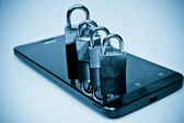 Security on mobile phone — Stock Photo
