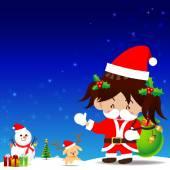 Christmas cartoon Little Girl with Santa Suit — Stock Vector