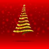 011-Gold ribbon  christmas tree — Stock Vector