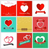 Set of nine style happy Valentine Card Design — Stock Vector