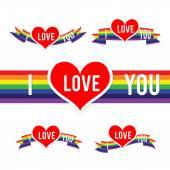 Happy Valentine Heart and Rainbow Ribbon 001 — ストックベクタ