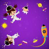 Cute children on space place — Stock Vector