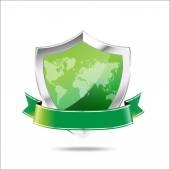 World map protection metal shield  on the white background — 图库矢量图片