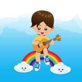 Cute Little boy child playing a music guitar on rainbow — Stockvector