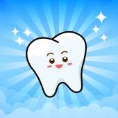 Happy Dental Smile Tooth Mascot Cartoon Character on sunburt blu — Stockvektor