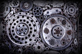 Old and dirty metal wheel gear weld background — Stock Photo