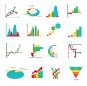 Set of business marketing dot bar pie charts diagrams and graphs — Stock Vector