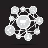 Shopping cart with social network icon, connection business conc — Stock Vector