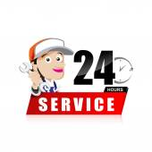 Smile mechanic man with tool in hand service 24 hours vector ill — Stock Vector