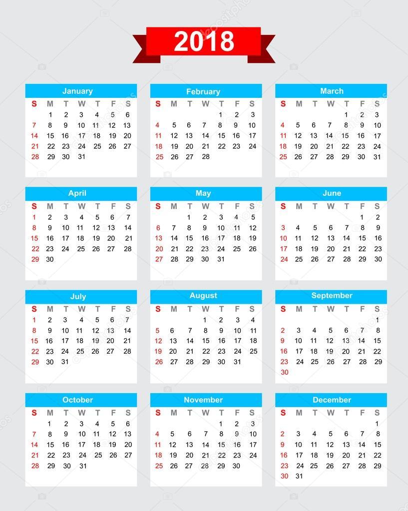 2018 calendario settimana inizia domenica vector eps10 — Vettoriale ...