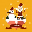 Santa Claus & snowman at snow land. — Stock Vector #52807833