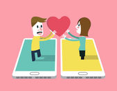 A man sent love emotion icon to A girl on smartphone . — Stockvector