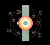 Smart watch or wearable on hand device with feature icons set. — ストックベクタ