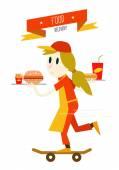 Girl is serving fast food with skateboard. — Vetor de Stock