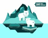 Polar bears is separated from family. global warming concept. — Stock Vector