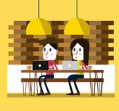 Working on laptop at coffee bar. modern lifestyle. — Stock Vector