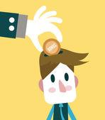 Big hand giving bonus to small businessman. — Stock Vector