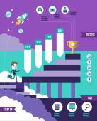 Start up business to successful info graphic. — Vetor de Stock