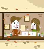Man and Woman working in coffee shop. — Stock Vector