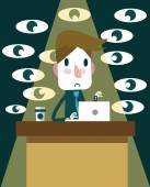 Business working on desk with many eye force. — Stock Vector