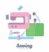 Sewing equipment and tailor needlework accessories. — Stock Vector