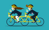Business people cycling to work. teamwork concept. — Stock Vector