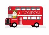 Smile man with red Die cast miniature London Route Master bus. — Stock Vector