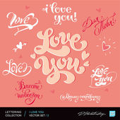 I LOVE YOU. Set of I LOVE YOU calligraphic headlines with hearts. Vector illustration. — Vetor de Stock