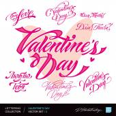 Valentine's Day. Set of Valentine's calligraphic headlines with hearts. Vector illustration. — Stock Vector