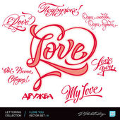 I LOVE YOU. Set of I LOVE YOU calligraphic headlines with hearts. Vector illustration. — Stockvektor