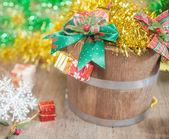 Christmas gift bugket — Stock Photo
