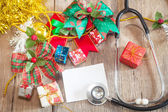 Gift boxes and Stethoscope — Stock Photo
