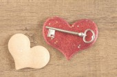 Red heart with key — Stock Photo