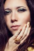 Close up model fashion portrait. Color smoky eyes turquoise. — Stock Photo