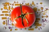Tomato with healthcare  background — Stock Photo