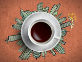 Coffee cup with big sity life — Stockvector